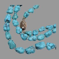 Large hand knotted Chinese Turquoise Nugget Necklace