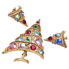 Weiss Christmas Tree Brooch and Earring Set