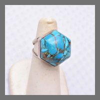 Jay King Turquoise Dome Sterling Silver Ring Size 6-1/2