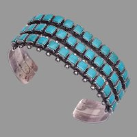 Vintage Fred Harvey Era 3-Row Turquoise Sterling Silver Cuff bracelet