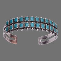 Vintage Fred Harvey Era 2-Row Turquoise Sterling Silver Cuff Bracelet