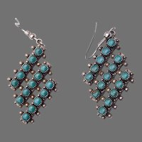 Vintage Fred Harvey Era Sterling Silver Snake Eye Turquoise Earrings