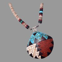 Vintage Santo Domingo Kewa Multi Stone Mosaic Inlay Shell Necklace