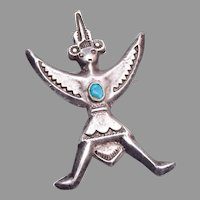 Old Sand Cast American Indian Sterling Knife Wing Pin/Brooch