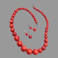 Red Apple Sponge Coral Graduated Beaded Necklace and Earrings
