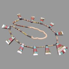 Vintage Native American Santo Domingo (Kewa) Multi-Stone Inlay Triangle Tab Necklace