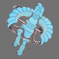 Zuni Native American Sterling Silver Turquoise Eagle Dancer Bracelet by Jonathan Beyuka