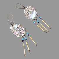Porcupine Quill and Mother of Pearl Pierced Earrings