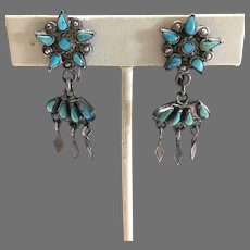 Vintage Native American Zuni Sterling Silver Petit Point Turquoise Dangle Earrings