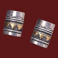 Vintage Navajo Contemporary Tommy Singer Sterling Silver 12K GF Earrings