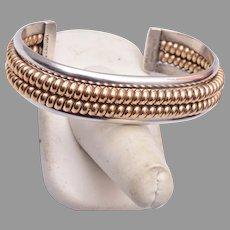 Vintage Navajo (Dine) Native American Sterling Gold Filled Twisted Coil Bracelet Franklin and Verna Tahe