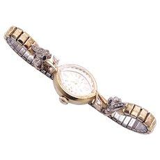 Vintage 14K Gold Diamond Bulova Ladies Wrist Watch circa 1970's