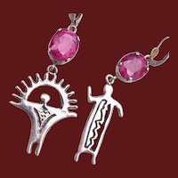 Sterling Man and Woman Pierced Earrings With Ruby Stones