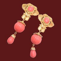 Jose Maria Barrera For Avon Faux Coral Dangle Earrings