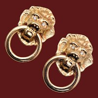 KJL for Avon Lion Head Door Knocker Earrings