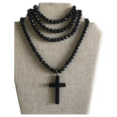 Victorian French Jet Mourning Necklace with Cross Pendant