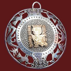 Vintage 18K Gold Sterling Silver Peru Brooch Pendant