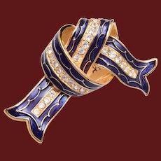 Joan Rivers Blue Enamel Rhinestone Bow Knot Ribbon Brooch