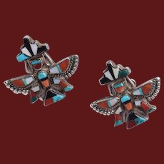 Vintage Zuni Native American Knifewing sterling Inlaid Earrings c1940's-50's