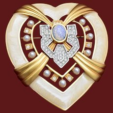 Elizabeth Taylor for Avon Enameled Heart Brooch Pin
