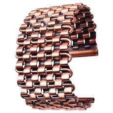 Renoir Copper Basket Weave Cuff Bracelet