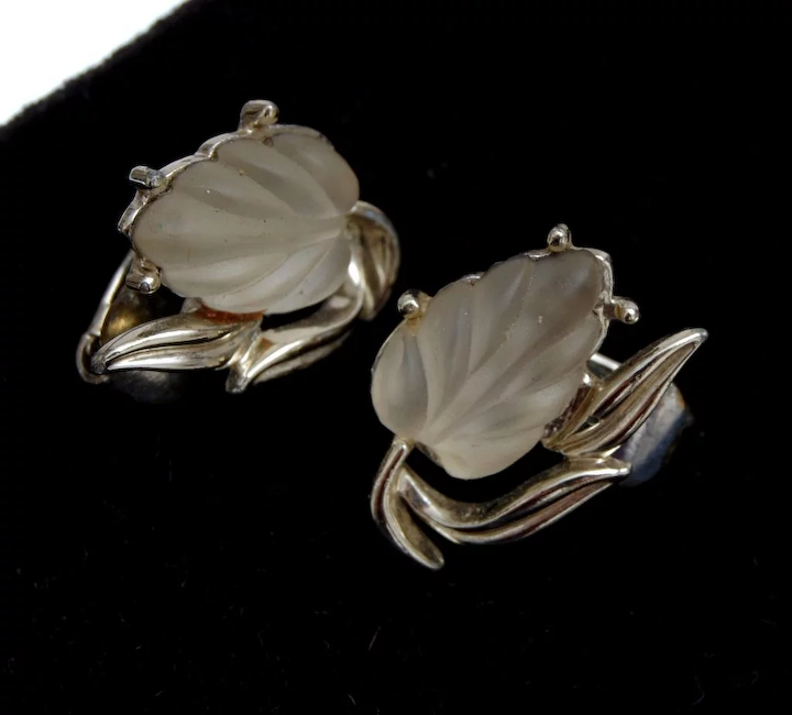 Coro Molded Gl Glowing Leaf Earrings