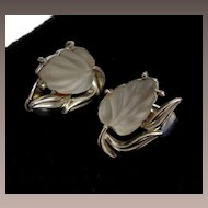 Coro Molded Glass Glowing Leaf Earrings