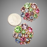 Large Pastel Colored Rhinestone Earrings