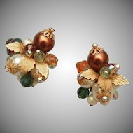 Alice Caviness Pearl, Crystal and Art Glass Earrings