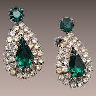 Green Prong Set Rhinestone Earrings