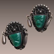 Silver Mexico Green Stone Face Earrings