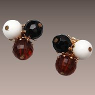 Vogue Lucite and Glass Beaded Earrings
