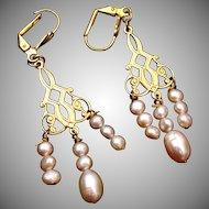 Natural Pearl Dangling Earrings Pierced