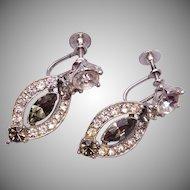 Bogoff Black Diamond and Clear Rhinestone Earrings