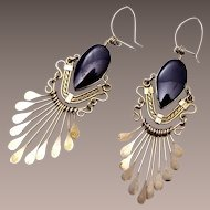 Black and Silver Dangling Pierced Earrings
