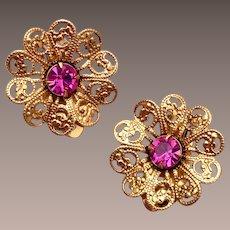 Lisner Filigree and Pink Rhinestone Earrings