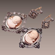 Georgian 18kt White & 14kt Gold Mine Cut Diamonds and High Relief Cameo Earrings