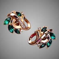 Trifari Patent Pending Pre 1955 Green Rhinestone Earrings