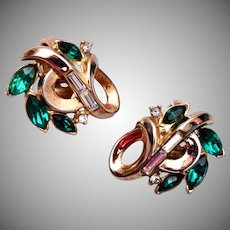 Trifari Patent Pending Pre 1955 Green Rhinestone Earrings