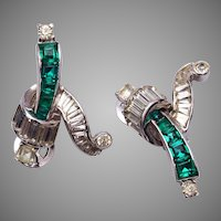 Mazer Beautiful Green Rhinestone Earrings