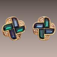 Swarovski Blue and Green Earrings