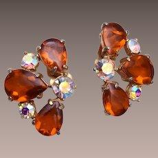 Topaz and AB Rhinestone Earrings