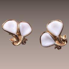 Pre 1955 Trifari White Milk Glass Earrings