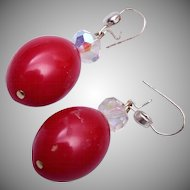 Red Bakelite Earrings