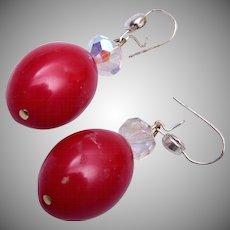 Red Bakelite Earrings