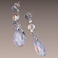 Crystal and Rhinestone Pierced Dangling Earrings