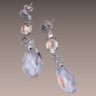 Crystal and Rhinestone Pierced Dangling Earrings