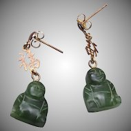 Jade Buddha Pierced Earrings