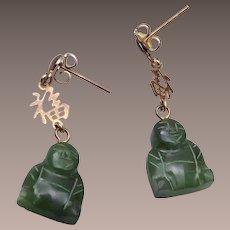 Jade Buddha Pierced Earrings