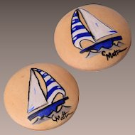 C Matte Sail Boat Wooden Earrings